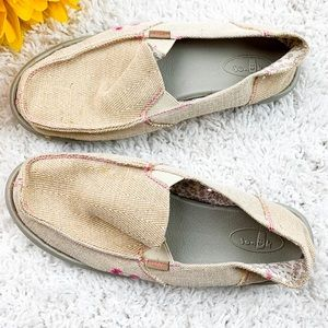 SANUK Cream and Pink Yoga Mat style Flats | 8